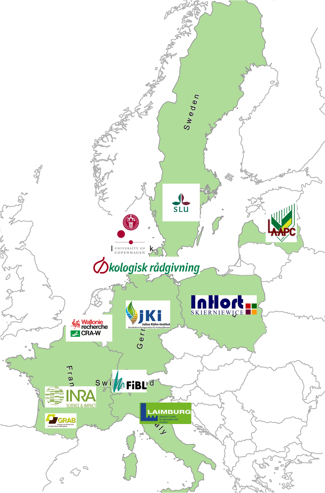 Participating countries and institutions of the EcoOrchard Project